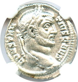 Image of AD 305-306 Constantius I AR Argenteus NGC AU (Ancient Roman) Strike: 5/5, Surface Quality: 5/5