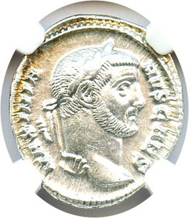 Image of 305-311 AD Galerius Issued as Caesar AR Argenteus NGC Ch AU (Ancient Roman) Strike: 5/5, Surface Quality: 5/5.