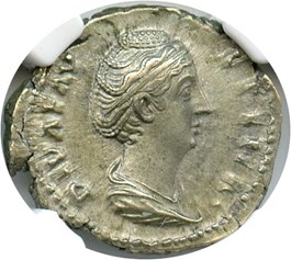 Image of 138-140/1 AD Faustina Sr. AR Denarius NGC AU (Ancient Roman) Strike: 4/5, Surface Quality: 4/5.