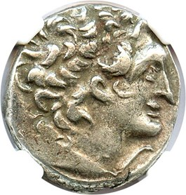 Image of 80-51 BC Ptolemy XII AR Tetradrachm NGC XF (Ancient Greek) Strike: 4/5, Surface Quality: 4/5.