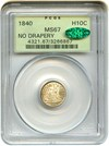 Image of 1840 H10c PCGS/CAC MS67 (No Drapery) OGH - Incredible Gem Type Coin