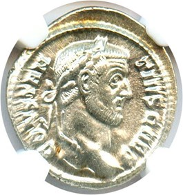 Image of AD 305-306 Constantinius I AR Argenteus NGC Ch AU (Ancient Roman) Strike: 4/5, Surface Quality: 5/5.