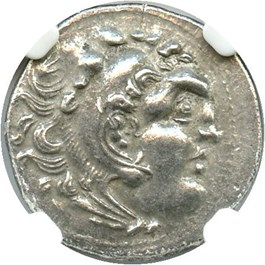 Image of 336-323 BC Alexander III AR Drachm NGC Ch XF (Ancient Greek) Strike: 4/5, Surface Quality: 3/5.