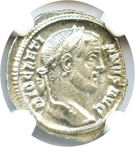 Image of 284-305 AD Diocletian AR Argenteus NGC AU (Ancient Roman) Strike: 4/5, Surface Quality: 5/5.