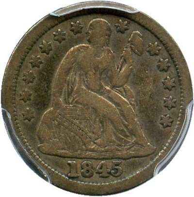 Image of 1845 10c PCGS VF30