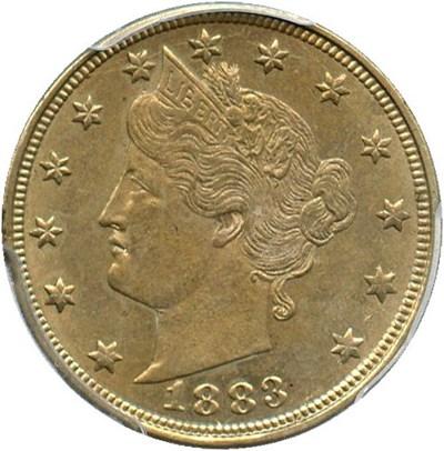 Image of 1883 5c PCGS AU58 (No Cents)