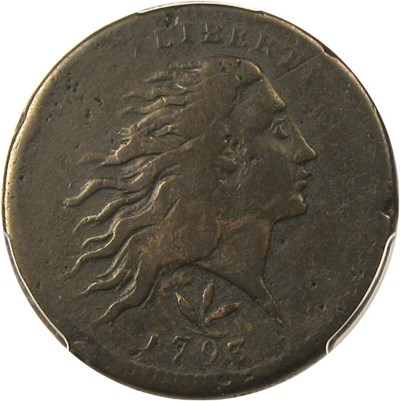 Image of 1793 1c PCGS Genuine Env. Damage, F Details (Wreath, Vine/Bars) - No Reserve!