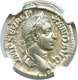 Image of 222-235 AD Sev.Alexander AR Denarius NGC Ch AU (Ancient Roman) Strike: 5/5, Surface Quality: 5/5.