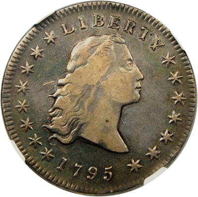 Image of 1795 $1 NGC/CAC XF40 (3 Leaves) Gorgeous XF of this desirable Flowing Hair Dollar
