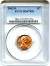 Image of 1962-D 1c PCGS MS67 RD *** Pop 1 !!! ***