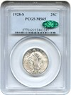 Image of 1928-S 25c PCGS/CAC MS65