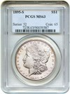 Image of 1895-S $1 PCGS MS63 - Looks Prooflike, Key Date