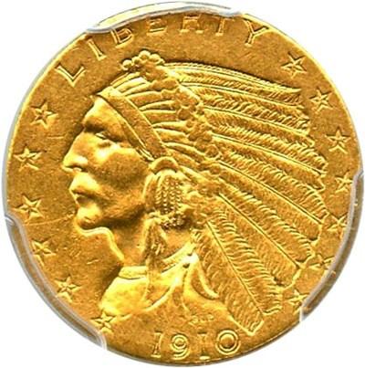 Image of 1910 $2 1/2 PCGS AU55
