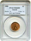 Image of 1909 Lincoln 1c PCGS MS66 RD
