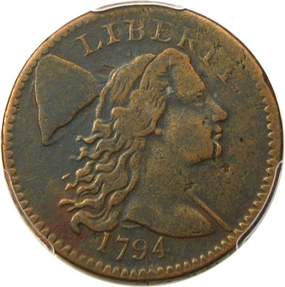 Image of 1794 1c PCGS VF25 (Head of 1794) Desirable Early Large Cent