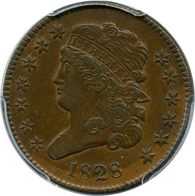 Image of 1828 1/2c PCGS XF45 (13 Stars)