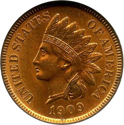 Image of 1909 Indian 1c NGC/CAC MS65 RB