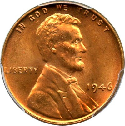 Image of 1946 1c PCGS MS65 RD