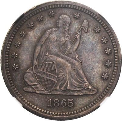 Image of 1865 25c NGC/CAC AU58