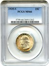 Image of 1935-S 25c PCGS MS66 - Colorful Rim Toning