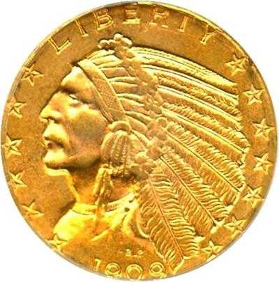 Image of 1909-D $5 PCGS/CAC AU58