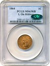 Image of 1864-L 1c PCGS/CAC MS63 RB (L on Ribbon) Key Date