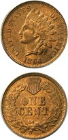 Image of 1864-L 1c PCGS/CAC MS63 RB (L on Ribbon) Key Date