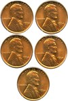 Image of Investor Lot: 1934 1c PCGS MS66 RD (5 Coins) - No Reserve!