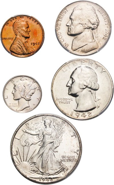 Image of 1942 Proof Set 1c-50c PCGS/CAC Proofs 63,65,66 (5 Coins)
