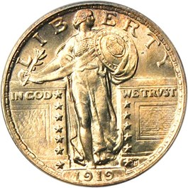 Image of 1919 25c PCGS/CAC MS66 FH