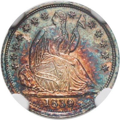 Image of 1839 H10c NGC/CAC MS63 (No Drapery)  Colorful Toning