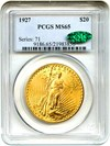 Image of 1927 $20 PCGS/CAC MS65 - No Reserve!