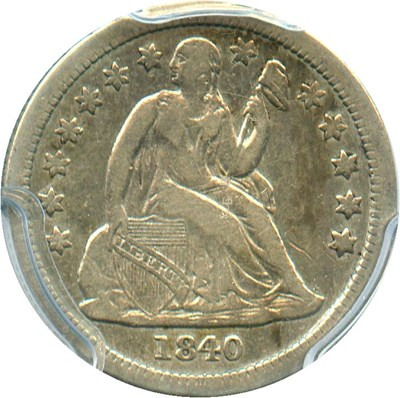 Image of 1840 10c PCGS VF25 (With Drapery)