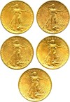 Image of Collector Lot: 1908 No Motto, 1910-S, 1914-S, (2)1922 $20 PCGS AU58 (5 Coins) - No Reserve!
