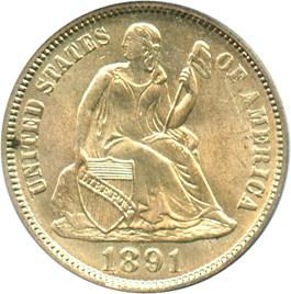 Image of 1891-O 10c PCGS MS65