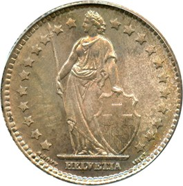 Image of Switzerland: 1920 B 1 Fr PCGS MS66