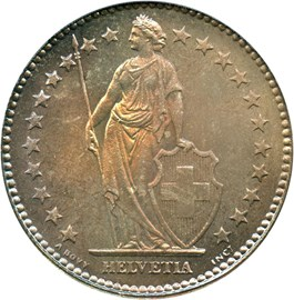 Image of Switzerland: 1920 B 2 Fr PCGS MS67