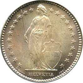 Image of Switzerland: 1921 B 2 Fr PCGS MS66