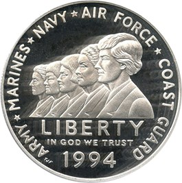 Image of 1994-P Women in the Military $1 PCGS Proof 70 DCAM - Important Low Pop Modern Grade Rarity