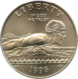 Image of 1996-S Olympic Swimming 50c PCGS MS69 - No Reserve!