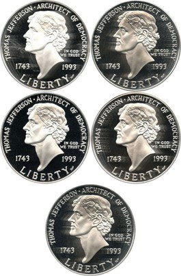 Image of Investor Lot of 1993-S Jefferson $1: All PCGS Proof 69 DCAM (5 Coins)