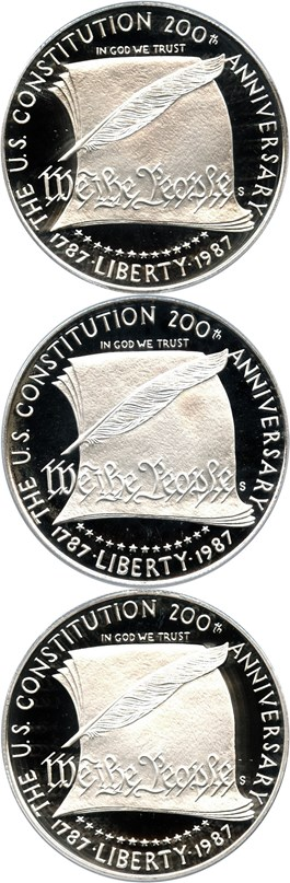 Image of Investor Lot of 1987-S Constitution $1: All PCGS Proof 69 DCAM (3 Coins)