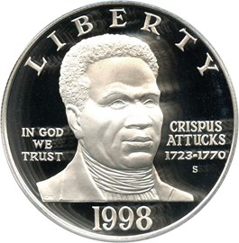 Image of 1998-S Black Patriots/Crispus Attucks $1 PCGS Proof 69 DCAM