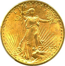 Image of 1920 $20 PCGS MS62