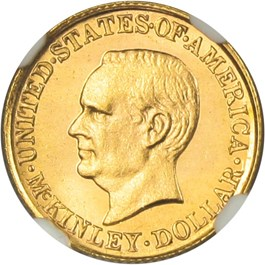 Image of 1916 McKinley G$1 NGC/CAC MS65