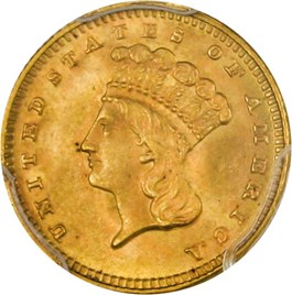 Image of 1889 G$1 PCGS/CAC MS65