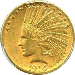 Image of 1914-S $10 PCGS/CAC AU55