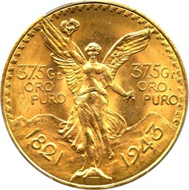 Image of Mexico: 1943 Gold 50 Peso PCGS Secure MS64+ (KM-482)