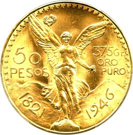 Image of Mexico: 1946 Gold 50 Peso PCGS Secure MS65 (KM-481)