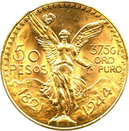 Image of Mexico: 1944 Gold 50 Peso PCGS Secure MS64 (KM-481)